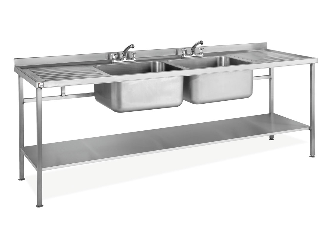 Stainless Steel Double Hot Sink And Drainer With Gas A